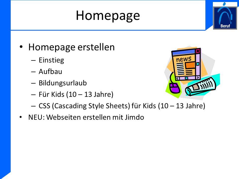 Homepage Homepage erstellen Einstieg Aufbau Bildungsurlaub