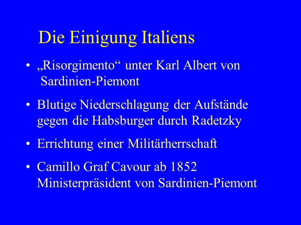 """Die Einigung Italiens """"Risorgimento unter Karl Albert von Sardinien-Piemont."""