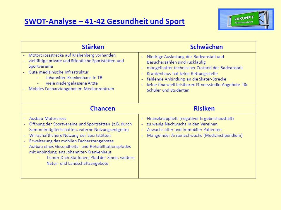 SWOT-Analyse – 41-42 Gesundheit und Sport