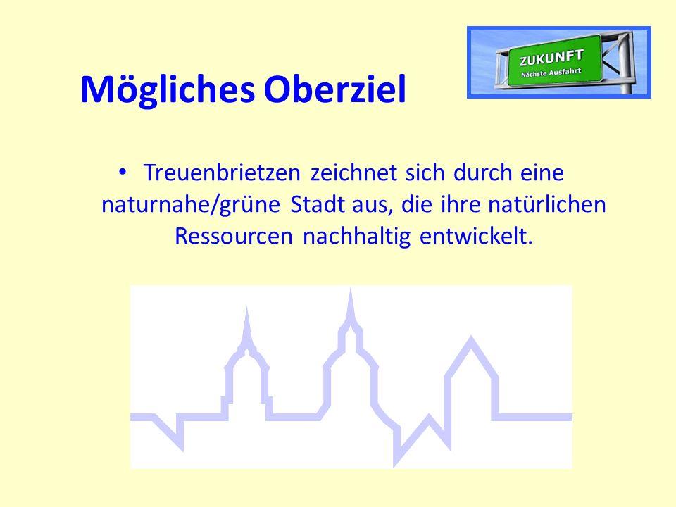 Mögliches Oberziel Treuenbrietzen zeichnet sich durch eine naturnahe/grüne Stadt aus, die ihre natürlichen Ressourcen nachhaltig entwickelt.