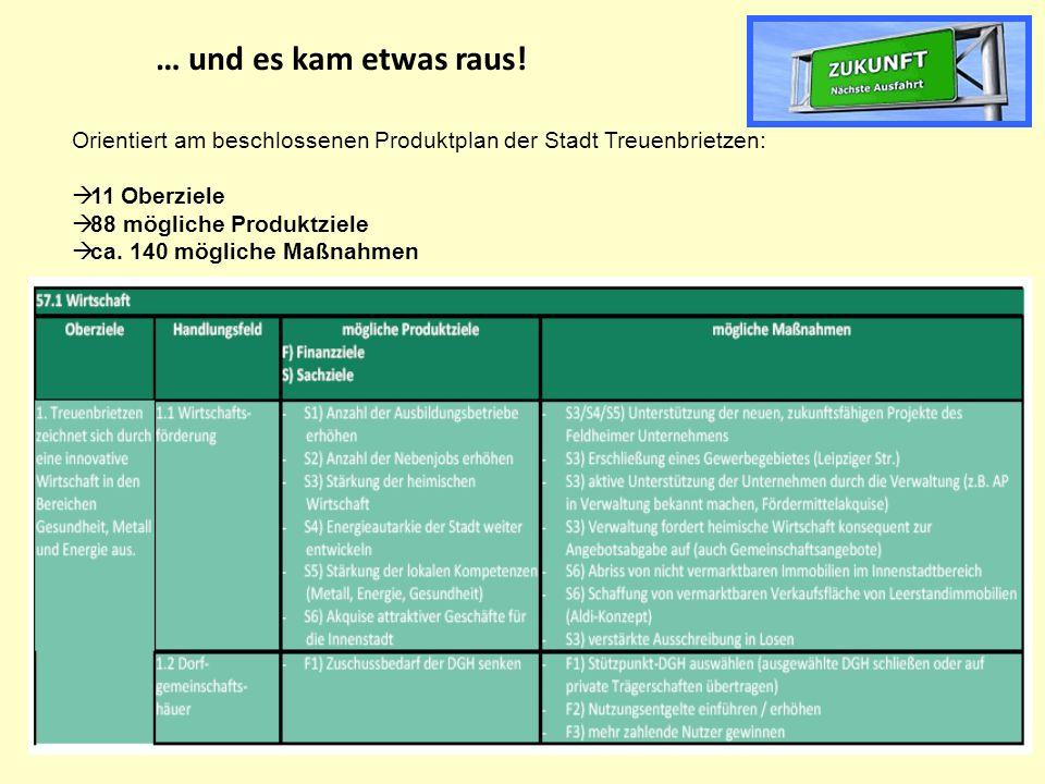 … und es kam etwas raus! Orientiert am beschlossenen Produktplan der Stadt Treuenbrietzen: 11 Oberziele.