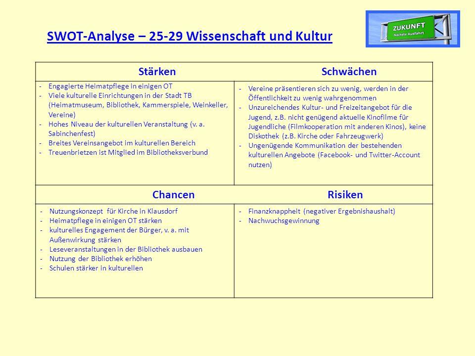 SWOT-Analyse – 25-29 Wissenschaft und Kultur