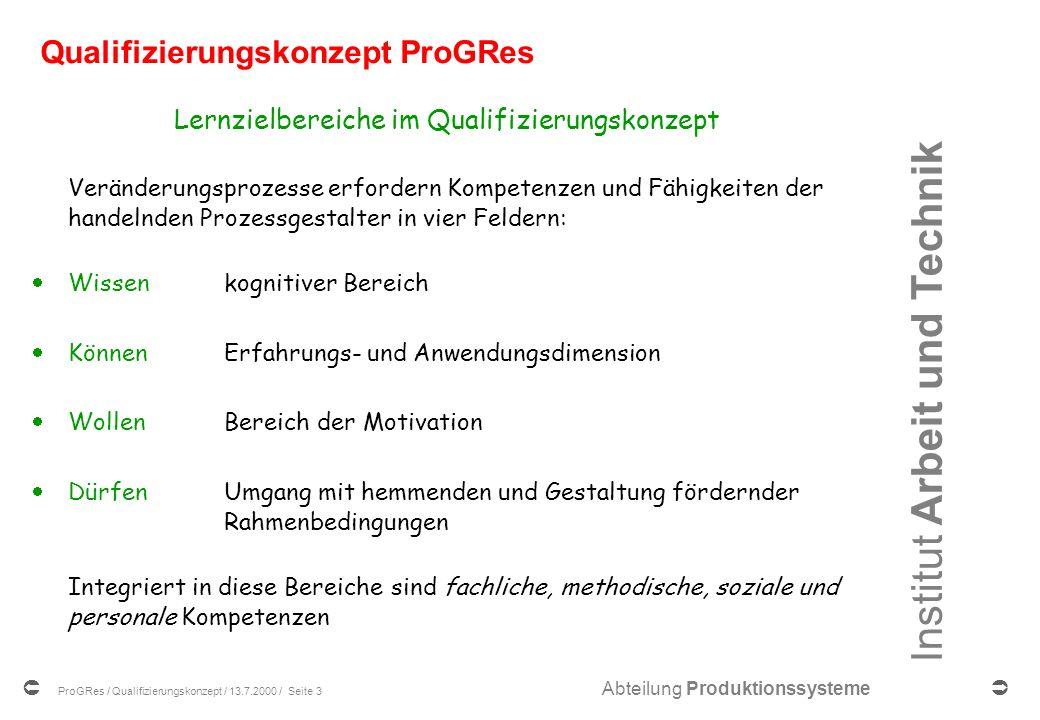 Qualifizierungskonzept ProGRes