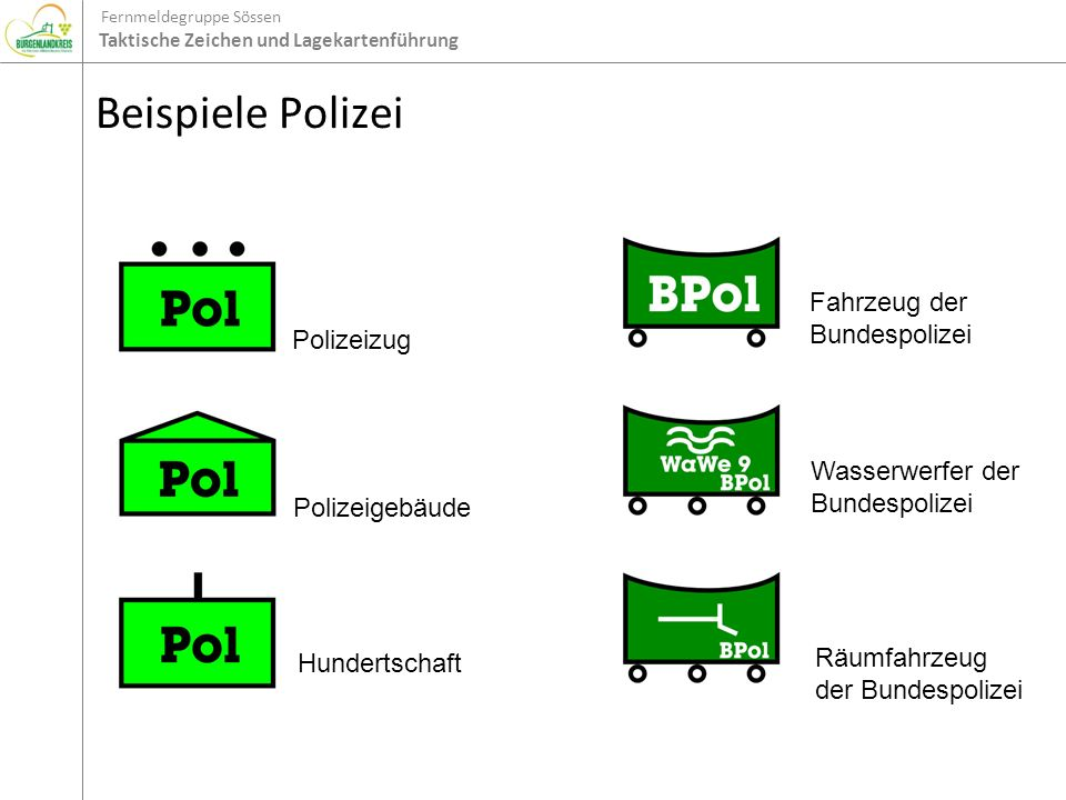 Beispiele Polizei Fahrzeug der Bundespolizei Polizeizug