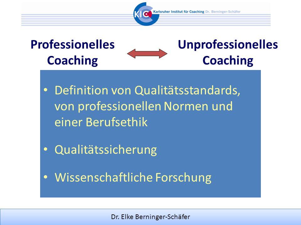 Professionelles Coaching. Unprofessionelles. Coaching. Definition von Qualitätsstandards, von professionellen Normen und einer Berufsethik.