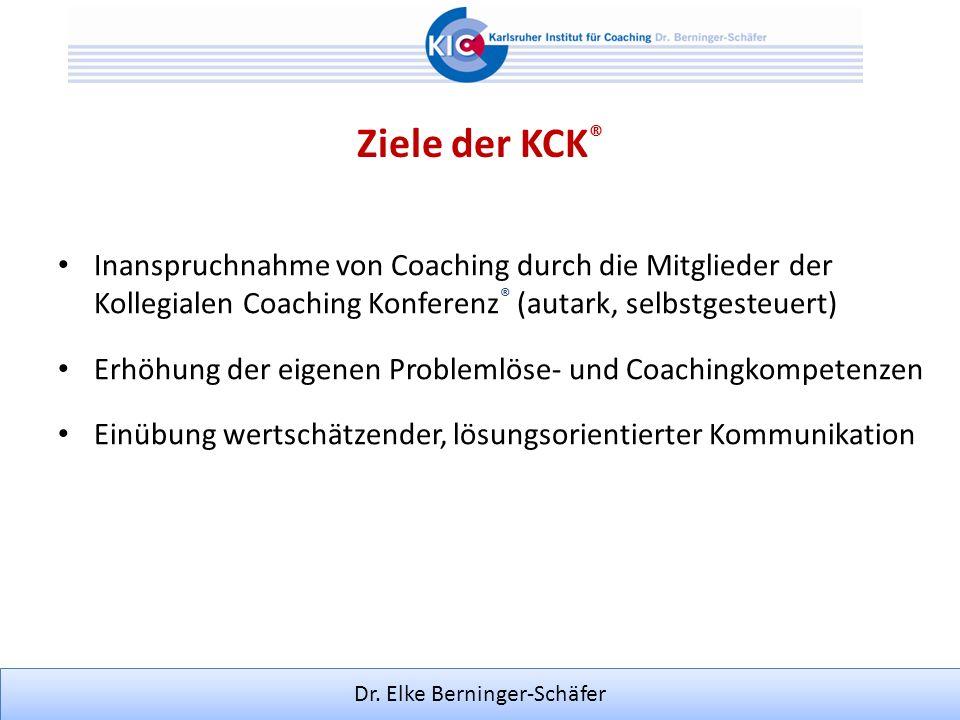 Ziele der KCK® Inanspruchnahme von Coaching durch die Mitglieder der Kollegialen Coaching Konferenz® (autark, selbstgesteuert)