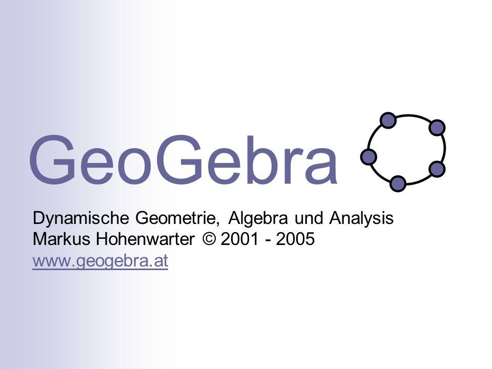 GeoGebra Dynamische Geometrie, Algebra und Analysis Markus Hohenwarter © 2001 - 2005 www.geogebra.at.