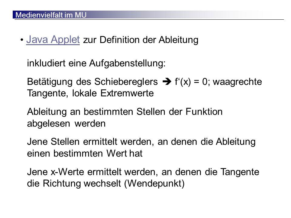 Java Applet zur Definition der Ableitung