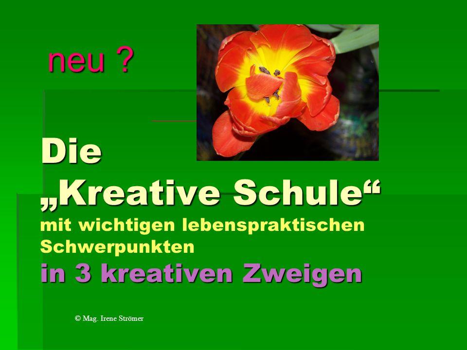 """neu Die """"Kreative Schule mit wichtigen lebenspraktischen Schwerpunkten in 3 kreativen Zweigen. © Mag. Irene Strömer."""