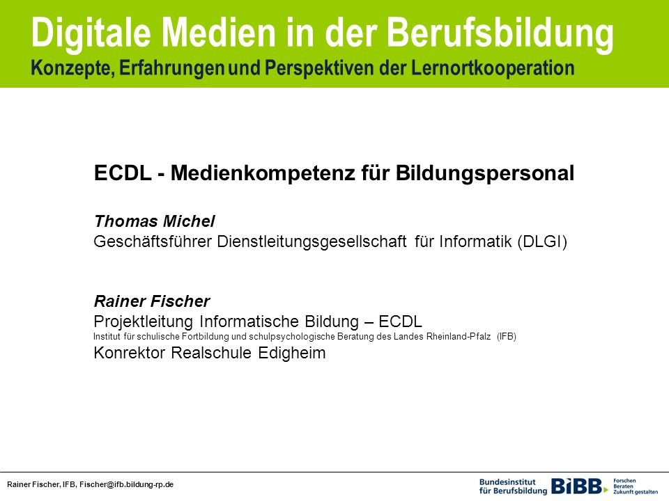 ECDL - Medienkompetenz für Bildungspersonal