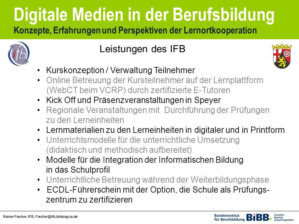 Leistungen des IFB Kurskonzeption / Verwaltung Teilnehmer