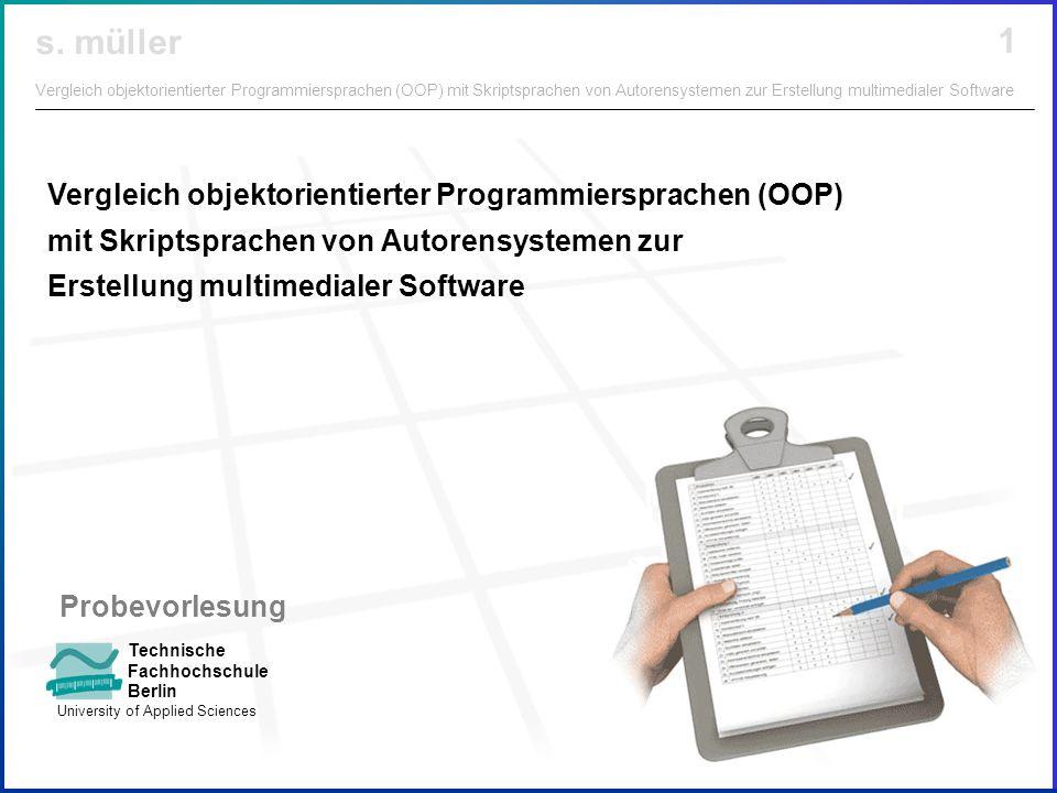 Vergleich objektorientierter Programmiersprachen (OOP) mit Skriptsprachen von Autorensystemen zur Erstellung multimedialer Software
