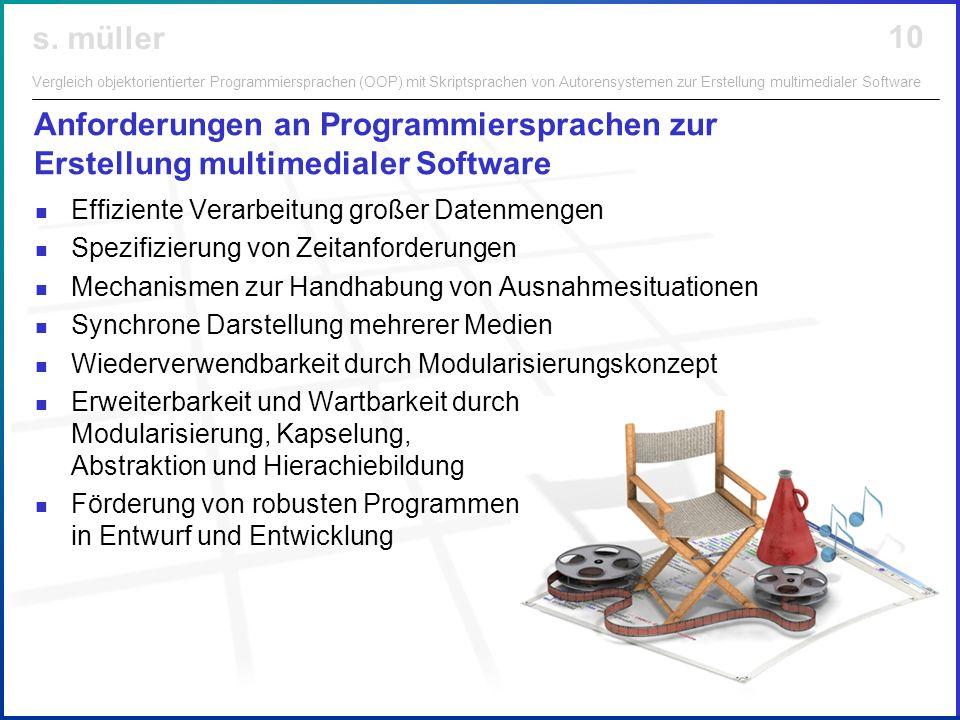 Anforderungen an Programmiersprachen zur Erstellung multimedialer Software