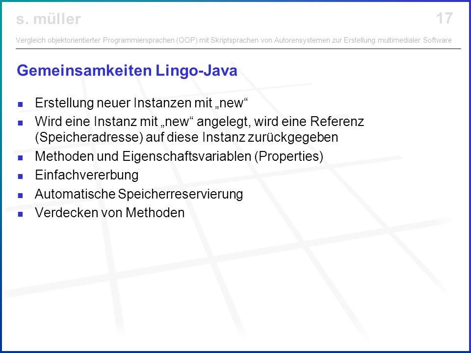 Gemeinsamkeiten Lingo-Java