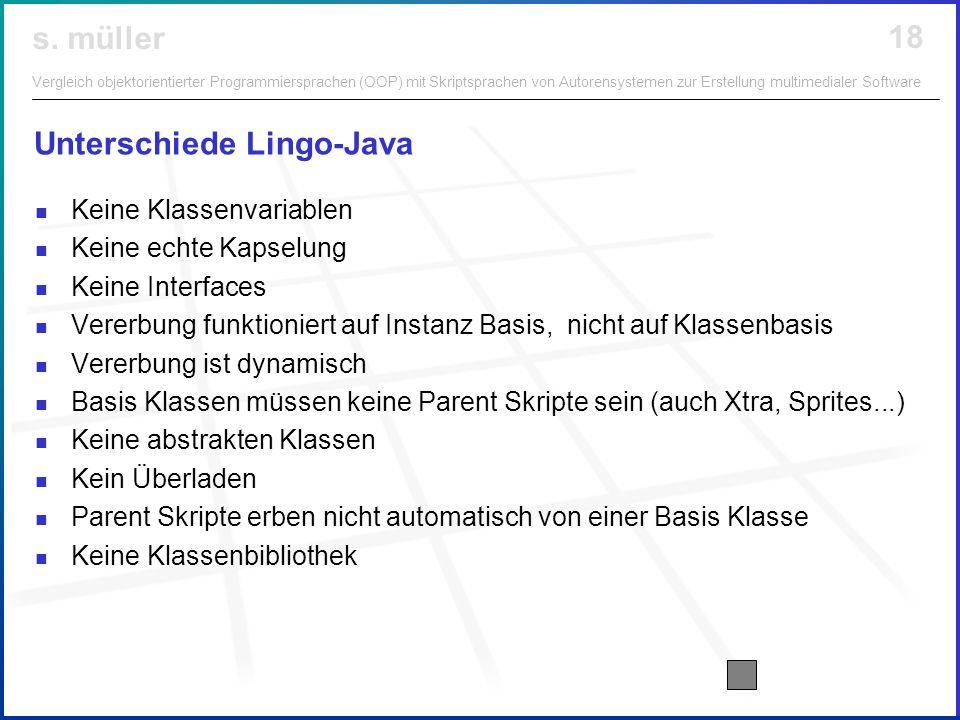Unterschiede Lingo-Java