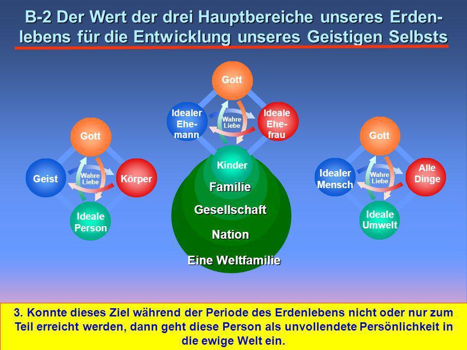 B-2 Der Wert der drei Hauptbereiche unseres Erden-lebens für die Entwicklung unseres Geistigen Selbsts
