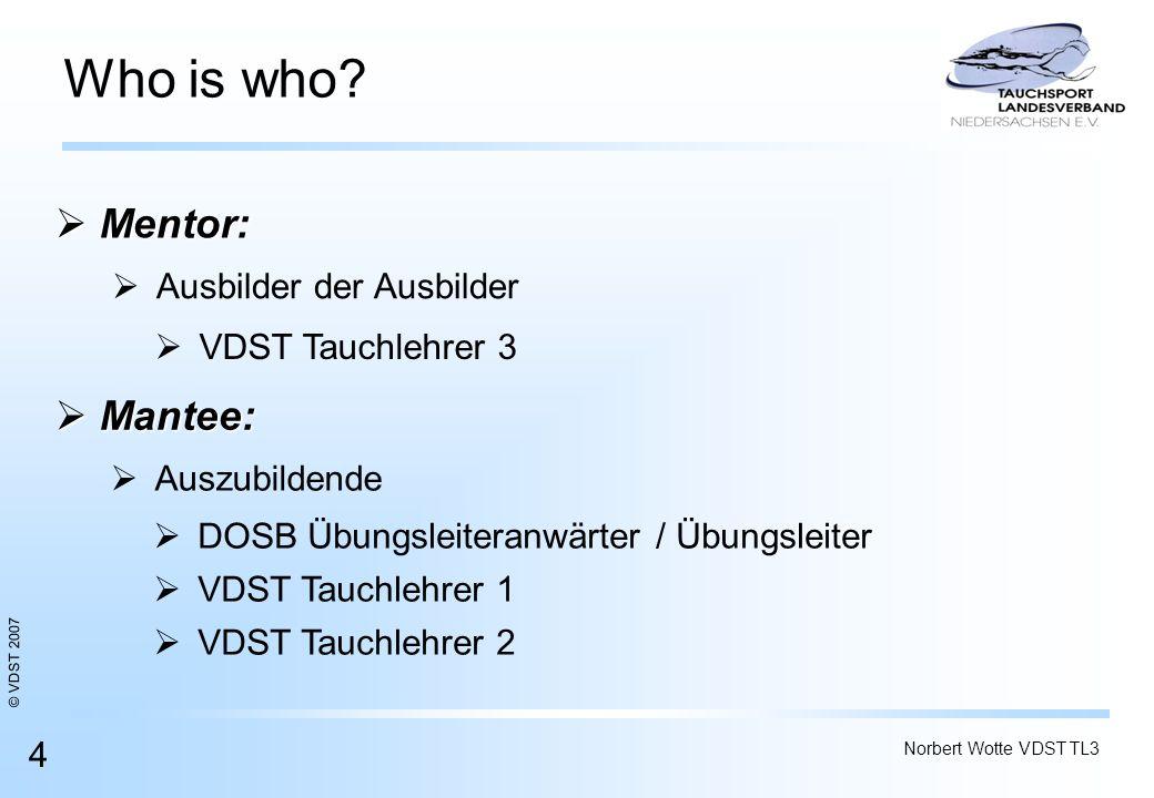 Who is who Mentor: Mantee: Ausbilder der Ausbilder VDST Tauchlehrer 3