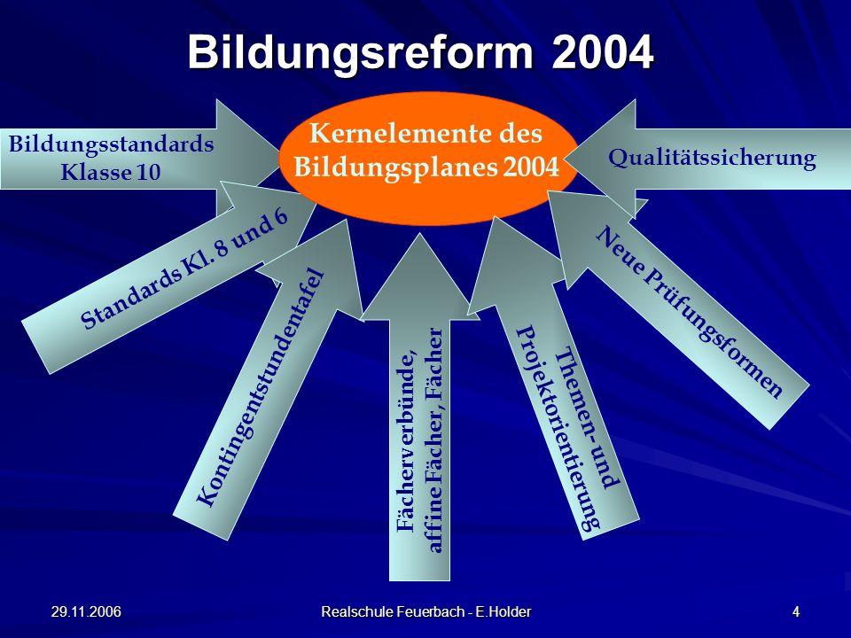 Kernelemente des Bildungsplanes 2004 Themen- und Projektorientierung