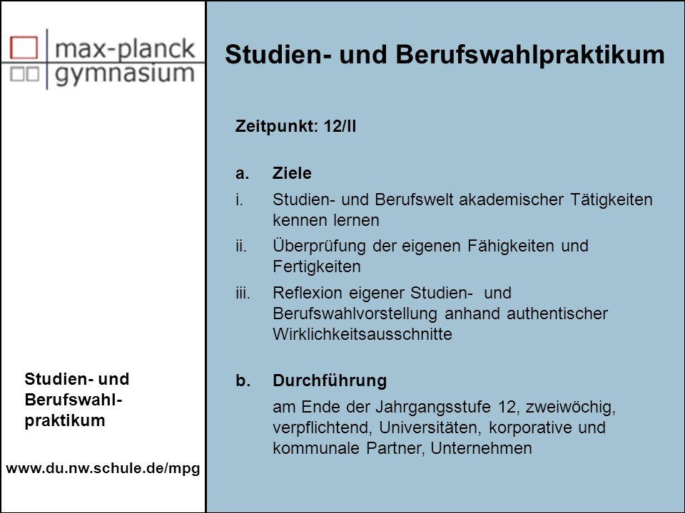 Studien- und Berufswahlpraktikum