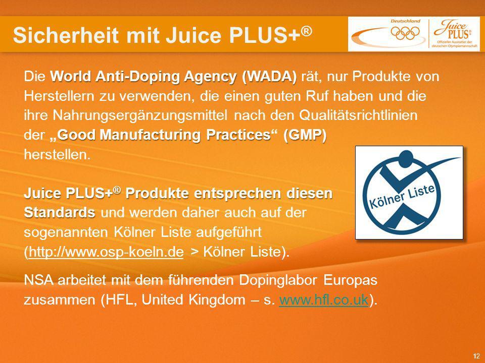 Sicherheit mit Juice PLUS+®
