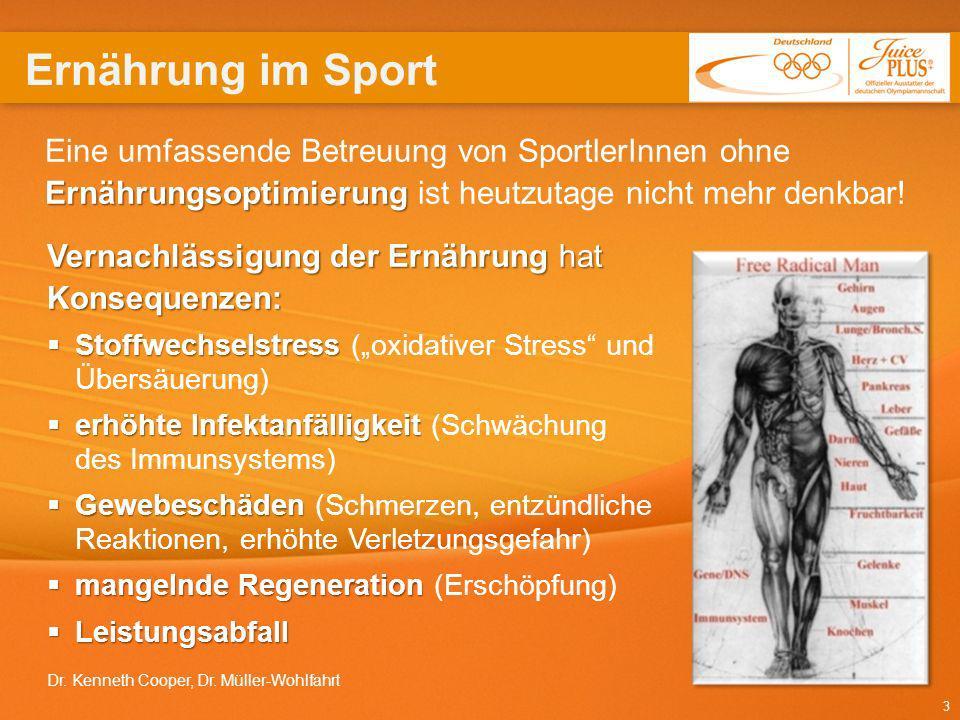 Ernährung im Sport Eine umfassende Betreuung von SportlerInnen ohne Ernährungsoptimierung ist heutzutage nicht mehr denkbar!