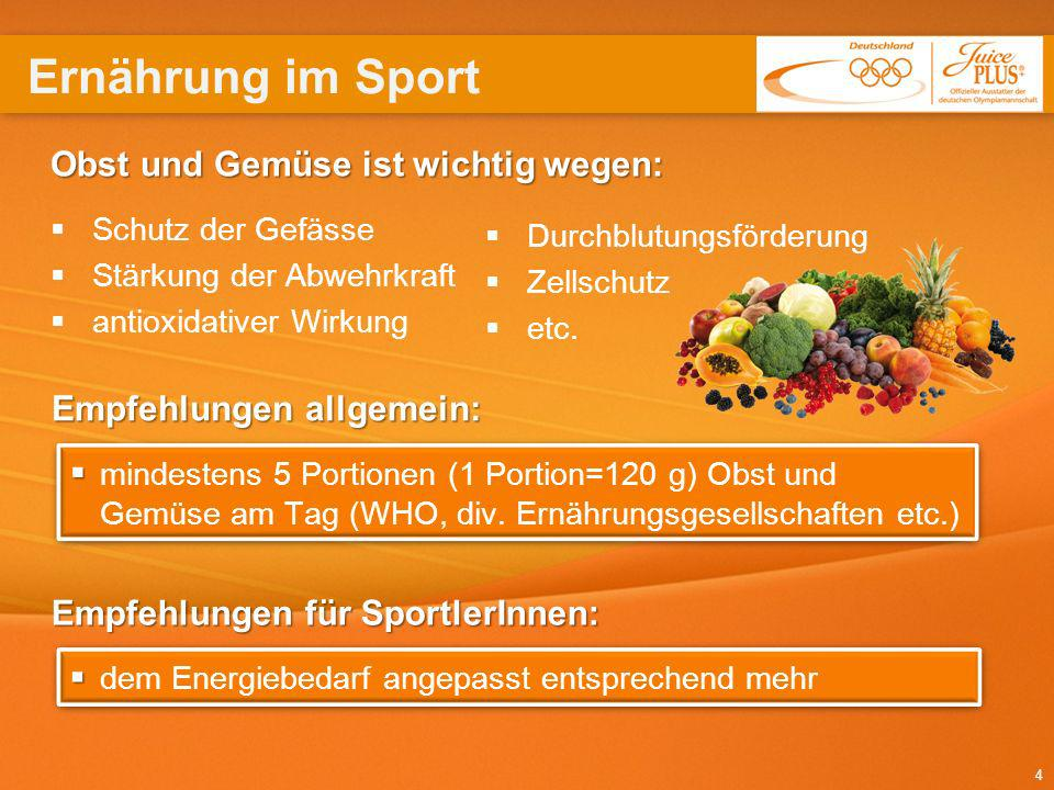 Ernährung im Sport Obst und Gemüse ist wichtig wegen: