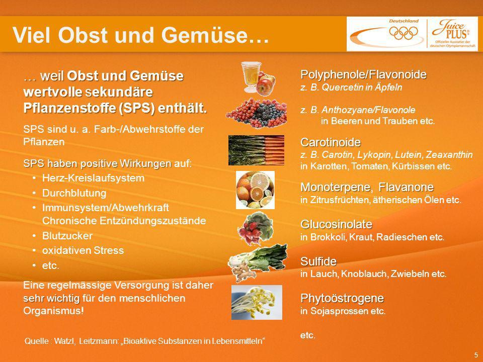 Viel Obst und Gemüse… Polyphenole/Flavonoide. z. B. Quercetin in Äpfeln z. B. Anthozyane/Flavonole in Beeren und Trauben etc.
