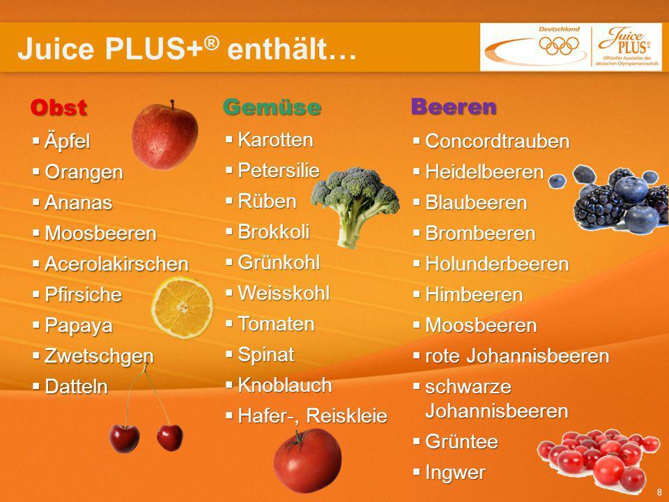 Juice PLUS+® enthält… Obst Gemüse Beeren Äpfel Karotten Concordtrauben