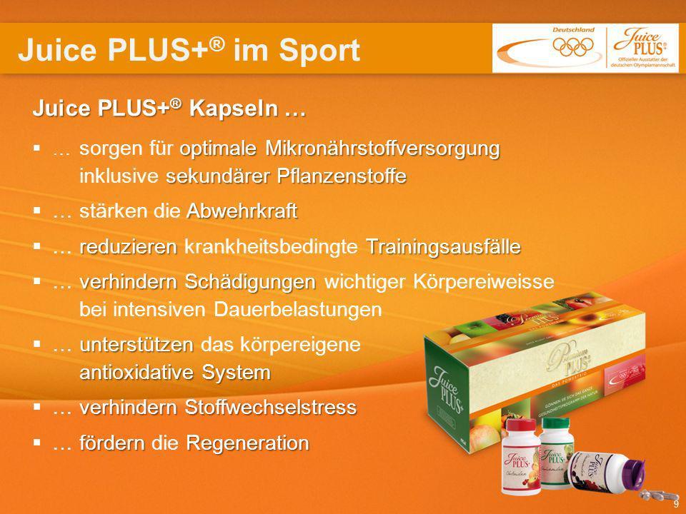 Juice PLUS+® im Sport Juice PLUS+® Kapseln … … stärken die Abwehrkraft