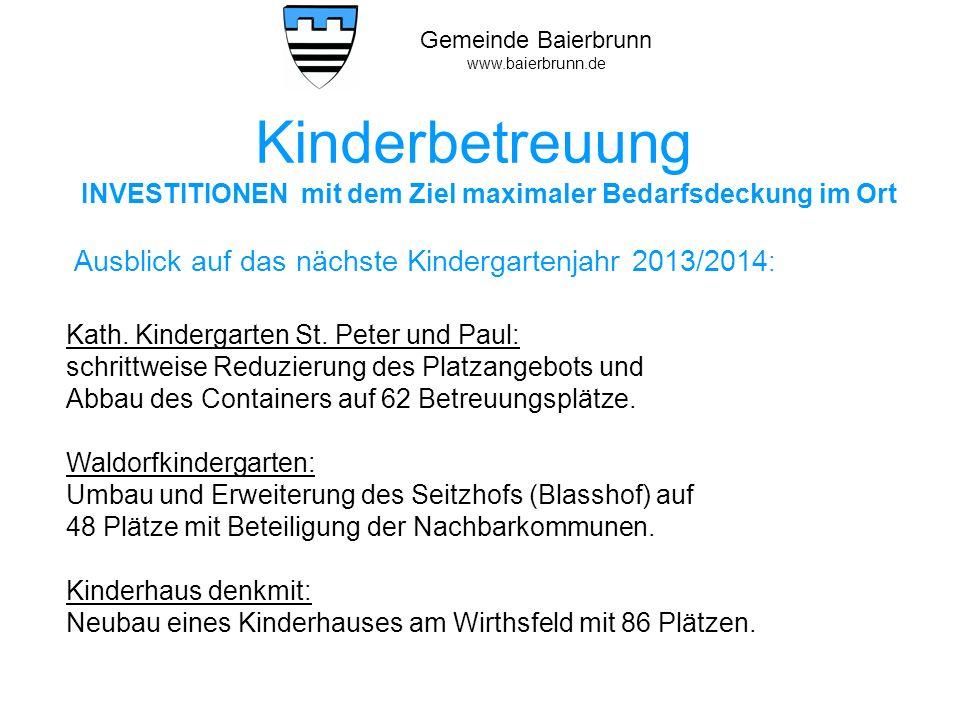 Kinderbetreuung Ausblick auf das nächste Kindergartenjahr 2013/2014: