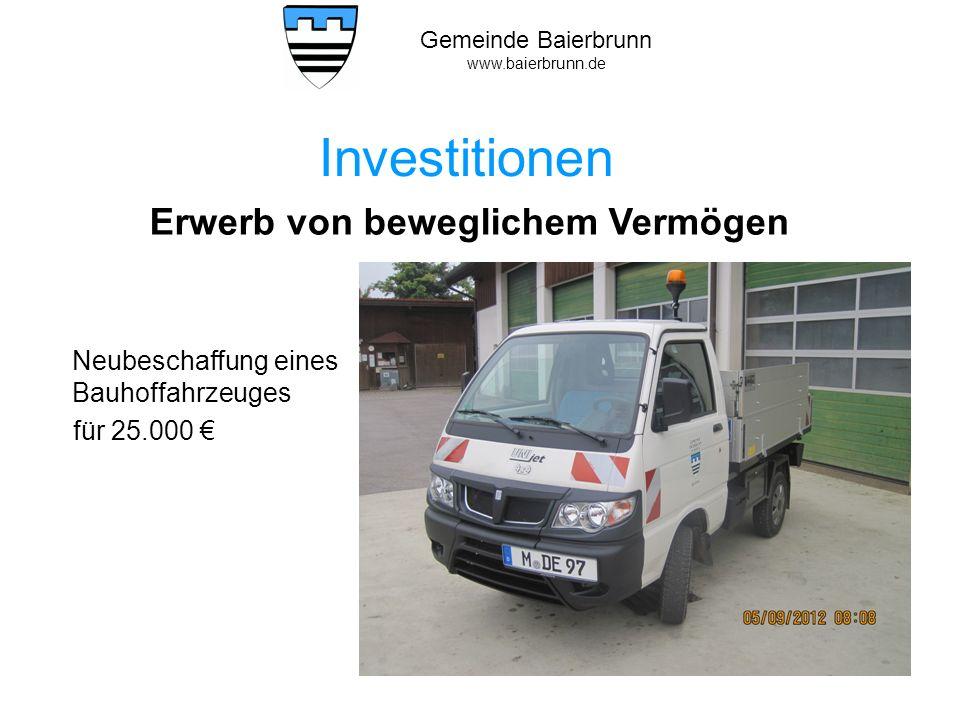 Investitionen Erwerb von beweglichem Vermögen für 25.000 €