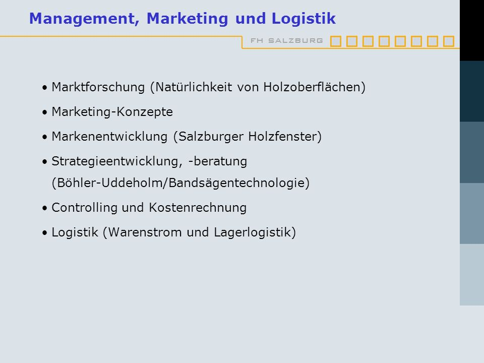 Management, Marketing und Logistik