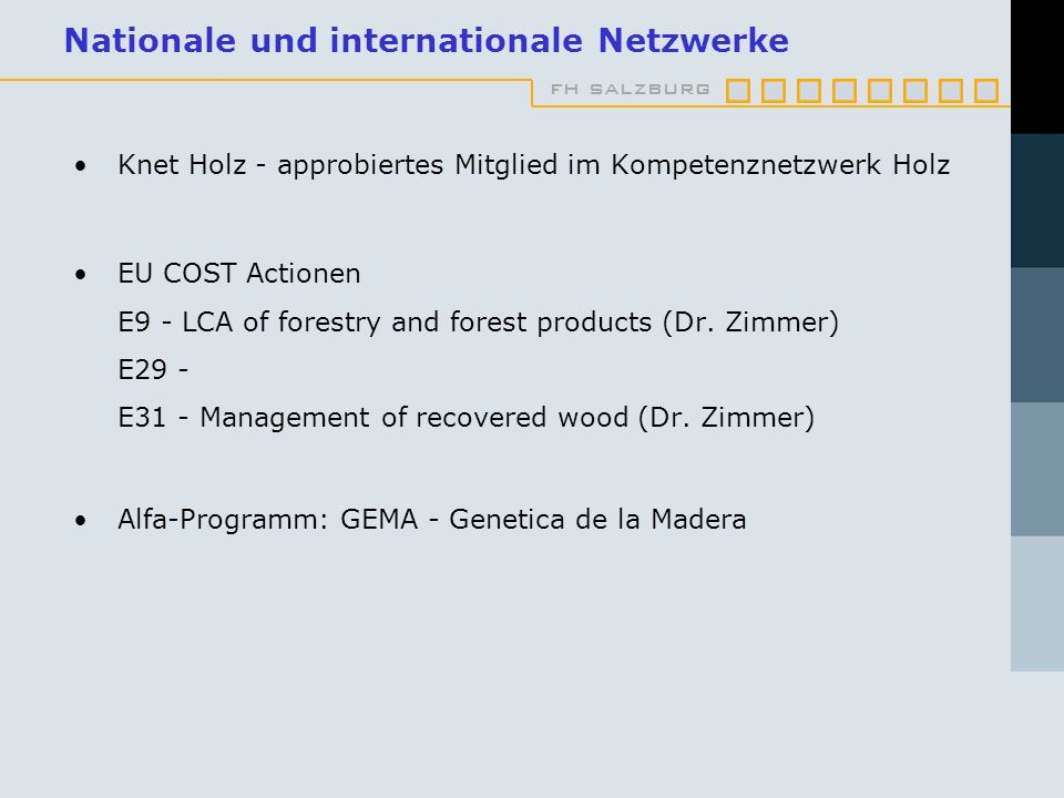 Nationale und internationale Netzwerke