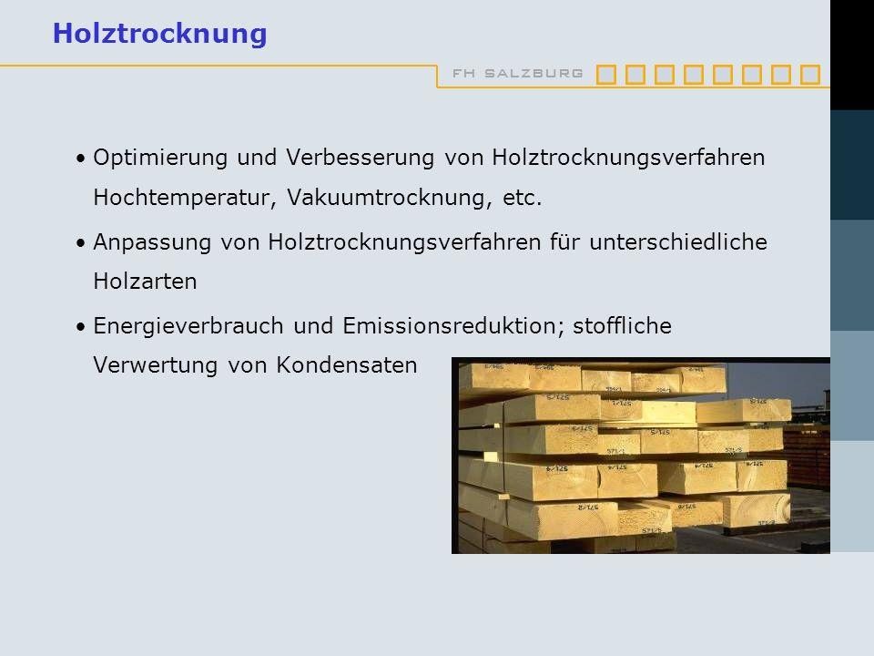 Holztrocknung Optimierung und Verbesserung von Holztrocknungsverfahren Hochtemperatur, Vakuumtrocknung, etc.