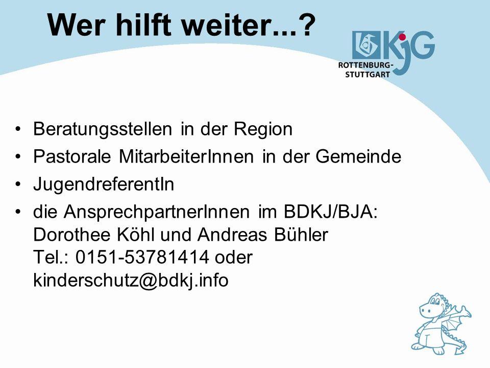 Wer hilft weiter... Beratungsstellen in der Region