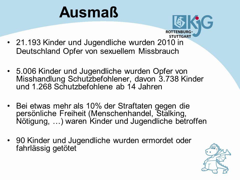 Ausmaß 21.193 Kinder und Jugendliche wurden 2010 in Deutschland Opfer von sexuellem Missbrauch.