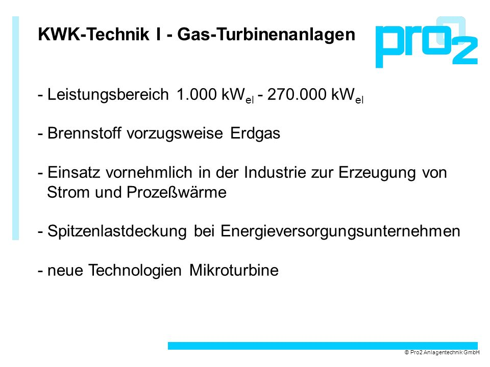KWK-Technik I - Gas-Turbinenanlagen