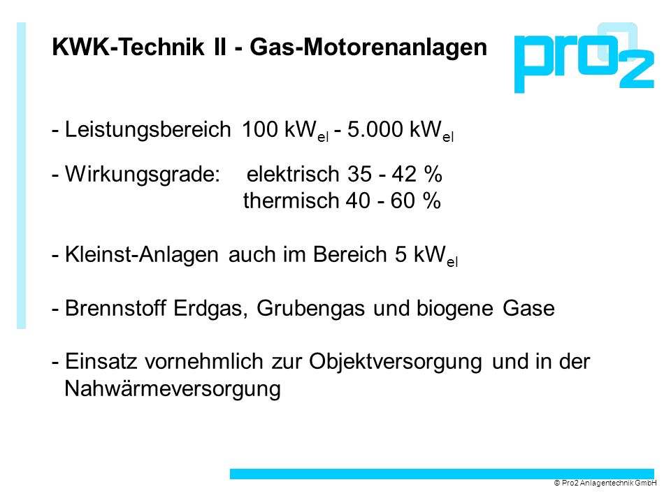 KWK-Technik II - Gas-Motorenanlagen