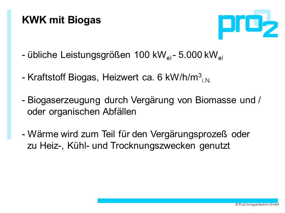 KWK mit Biogas - übliche Leistungsgrößen 100 kWel - 5.000 kWel