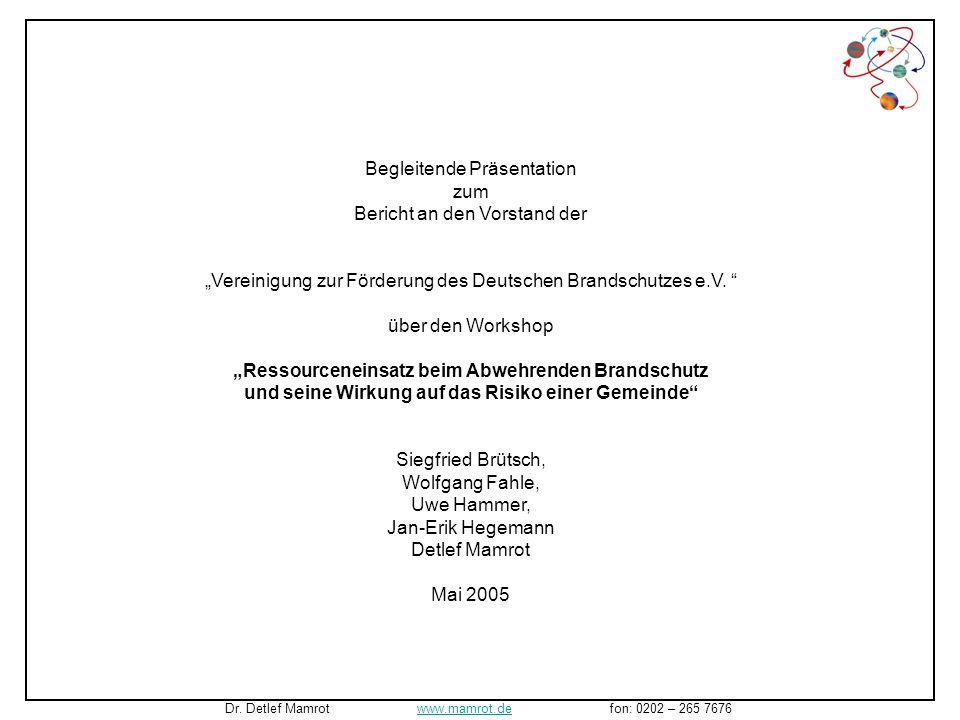 Begleitende Präsentation zum Bericht an den Vorstand der