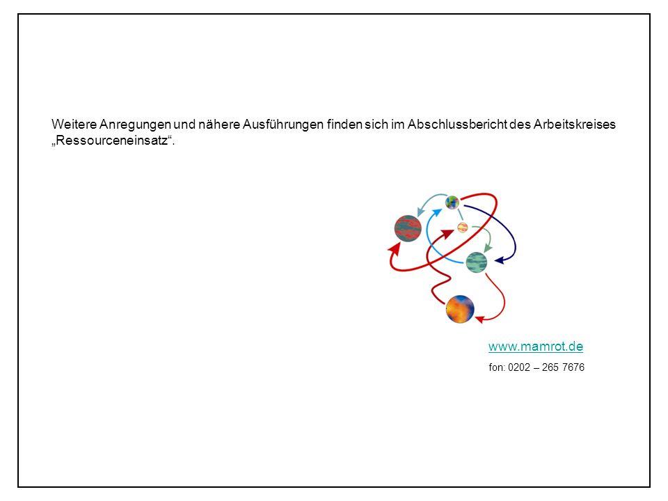 Weitere Anregungen und nähere Ausführungen finden sich im Abschlussbericht des Arbeitskreises