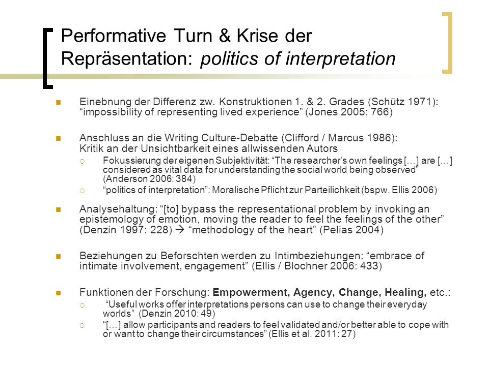 Performative Turn & Krise der Repräsentation: politics of interpretation