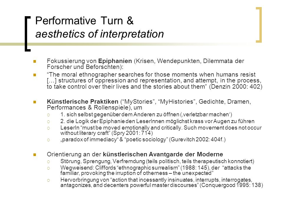 Performative Turn & aesthetics of interpretation