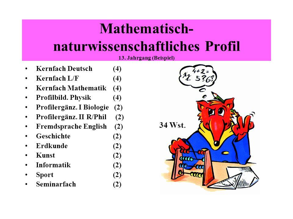 Mathematisch- naturwissenschaftliches Profil 13. Jahrgang (Beispiel)