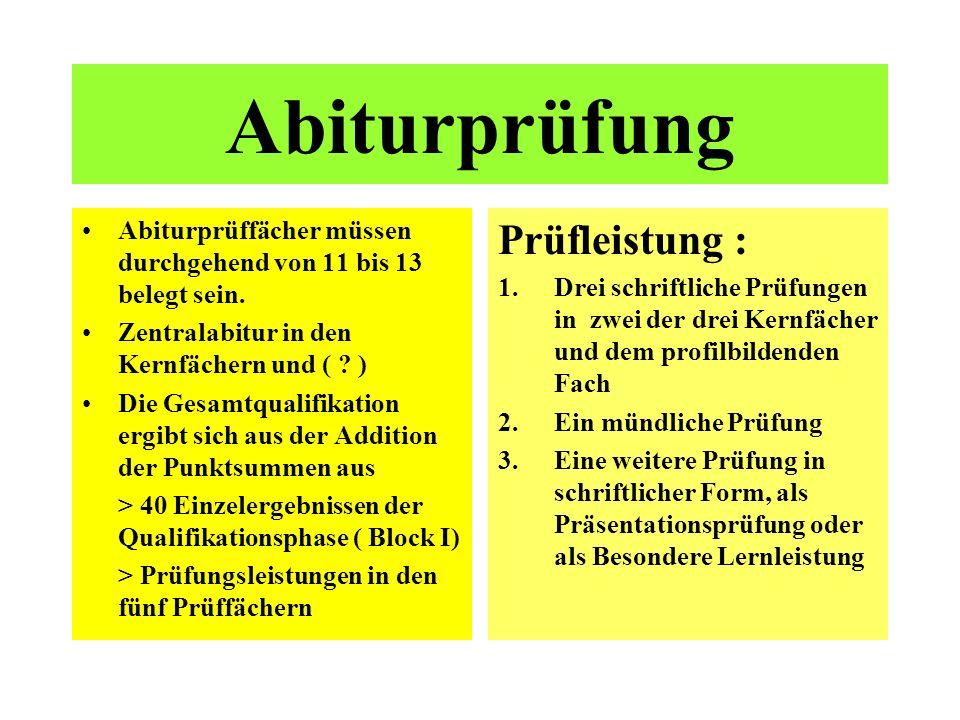 Abiturprüfung Prüfleistung :