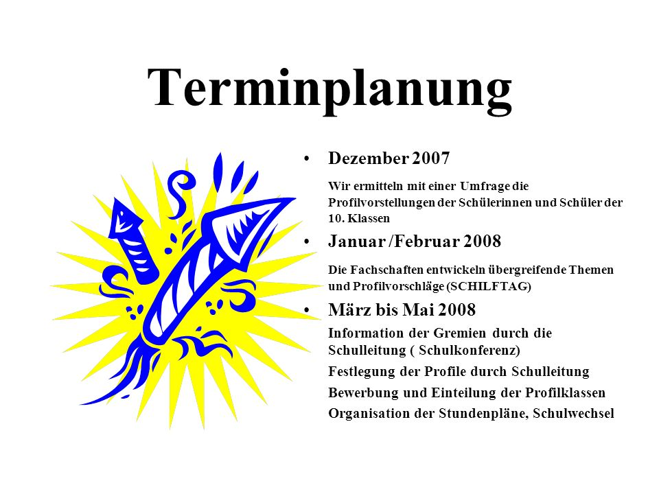 Terminplanung Dezember 2007