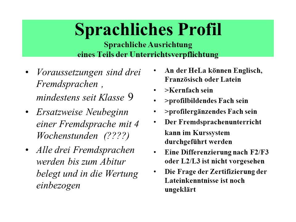 Sprachliches Profil Sprachliche Ausrichtung eines Teils der Unterrichtsverpflichtung
