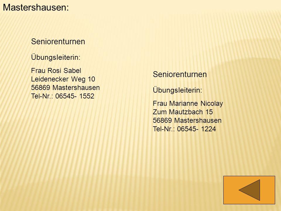 Mastershausen: Seniorenturnen Seniorenturnen Übungsleiterin: