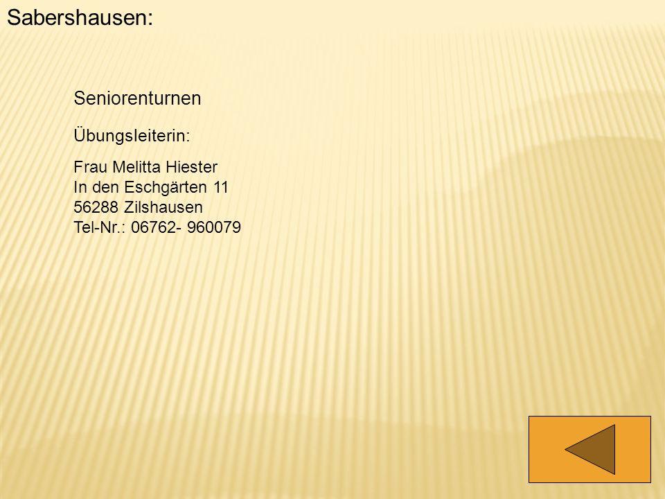 Sabershausen: Seniorenturnen Übungsleiterin: Frau Melitta Hiester