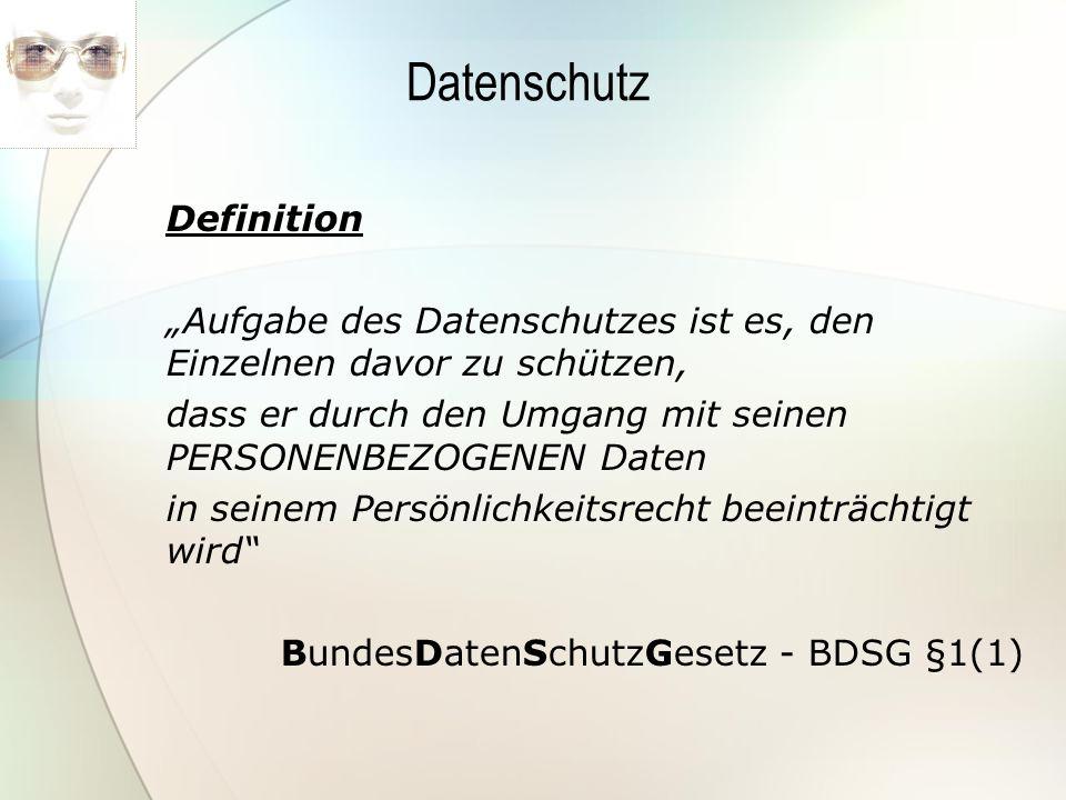 Datenschutz Definition